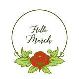 Wektorowa ilustracyjna okwitnięcie kwiatu rama dla zaproszenie marszu cześć royalty ilustracja