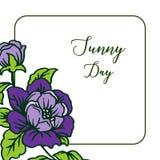 Wektorowa ilustracyjna okwitnięcie kwiatu rama z karcianym słonecznym dniem ilustracja wektor