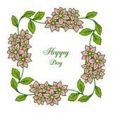 Wektorowa ilustracyjna okwitnięcie kwiatu rama z pisać list szczęśliwego dzień royalty ilustracja
