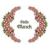 Wektorowa ilustracyjna okwitnięcie kwiatu rama z różnorodnym pisać cześć marszu royalty ilustracja