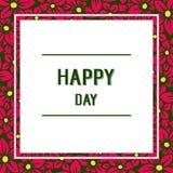Wektorowa ilustracyjna okwitnięcie kwiatu rama z stylem pisze szczęśliwym dniu ilustracji