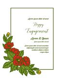 Wektorowa ilustracyjna okwitnięcie róży kwiatu rama z zaproszenia szczęśliwym zobowiązaniem ilustracja wektor
