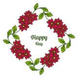 Wektorowa ilustracyjna okwitni?cie kwiatu rama z stylem pisze szcz??liwym dniu royalty ilustracja