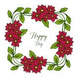 Wektorowa ilustracyjna okwitni?cie kwiatu rama z stylem pisze szcz??liwym dniu ilustracji