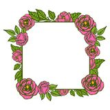 Wektorowa ilustracyjna piękna róż menchii wianku rama z ozdobnymi zielonymi liśćmi royalty ilustracja