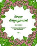Wektorowa ilustracyjna piękna okwitnięcie kwiatu rama dla karty szczęśliwy zobowiązanie royalty ilustracja