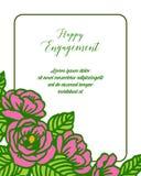 Wektorowa ilustracyjna piękna okwitnięcie kwiatu rama dla karty szczęśliwy zobowiązanie ilustracji