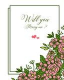 Wektorowa ilustracyjna różnorodna tłum menchii róży kwiatu rama dla szablonu ty poślubiasz ja ilustracja wektor