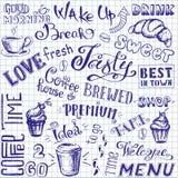 Wektorowa ilustracyjna ręka rysująca kawa iść, filiżanki, kubki, fasole a royalty ilustracja