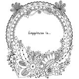 Wektorowa ilustracyjna Zen gmatwanina, doodle wokoło ramy z kwiatami, mandala Kolorystyki książki anty stres dla dorosłych Czarny Fotografia Stock