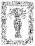 Wektorowa ilustracyjna zentang waza kwiaty w ramie Kolorystyk książki dla stresu vzroslyhyu czerni bielu royalty ilustracja