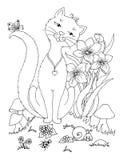 Wektorowa ilustracyjna zentangl chłopiec w kwiatach na jego podołka królik Doodle rysunek Kolorystyki książki anty stres dla doro Fotografia Royalty Free