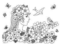 Wektorowa ilustracyjna zentangl dziewczyna patrzeje ptaszyny obsiadanie na gałąź Doodle rysunek Medytacyjni ćwiczenia Kolorystyki fotografia stock