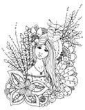 Wektorowa ilustracyjna zentangl dziewczyna tonąca w kwiatach Doodle rysunek Medytacyjny ćwiczenie Kolorystyki książki anty stres  Zdjęcie Royalty Free