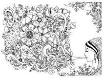 Wektorowa ilustracyjna zentangl kobieta, dziewczyna flet z kwiatami Barwić Antego stres czarny white Dorosłe kolorystyk książki Fotografia Royalty Free