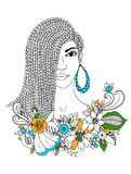 Wektorowa ilustracyjna zentangl portreta amerykanina afrykańskiego pochodzenia kobieta, mulat, murzyn Doodle kwiecista rama, wark Fotografia Stock