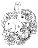 Wektorowa ilustracyjna zentangl zając w kwiatach Doodle rysunkowy pióro Barwić stronę dla dorosłego stresu Czarny biel Obrazy Stock