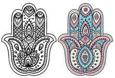 Wektorowa Indiańska ręka rysujący hamsa z ornamentami Obrazy Royalty Free