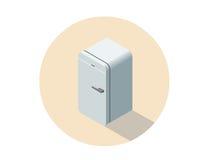 Wektorowa isometric ilustracja fridge, 3d mieszkania chłodziarka Zdjęcie Stock