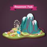 Wektorowa isometric ilustracja park rozrywki z różnym a Obrazy Stock