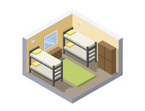 Wektorowa Isometric ilustracja schronisko pokój tania hotelowa ikona Zdjęcia Royalty Free