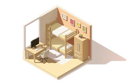 Wektorowa isometric niska poli- dziecko pokoju ikona Obrazy Royalty Free