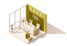 Wektorowa isometric niska poli- hotelowa recepcyjna ikona Zdjęcie Royalty Free