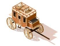 Wektorowa isometric niska poli- stagecoach ikona ilustracja wektor