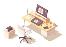 Wektorowa isometric projektant grafik komputerowych miejsce pracy royalty ilustracja