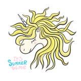 Wektorowa jednorożec Kierowniczy portreta koń, drukuje dziecka ` s koszulkę, pisze list Typografia slogan mała blondynki dziewczy Obraz Stock