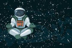Wektorowa joga ilustracja Czarny pozaziemski niebo z astronautą i dekoracyjnymi gwiazdami royalty ilustracja