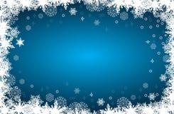 Wektorowa kartka bożonarodzeniowa z płatek śniegu ramą na błękitnym tle Obraz Royalty Free