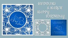 Wektorowa kartka z pozdrowieniami dla wakacji Z wizerunkiem kwiaty, orchidee Ślub, Marzec 8, wszystkiego najlepszego z okazji uro ilustracji