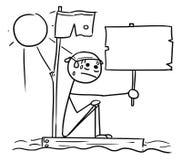 Wektorowa kija mężczyzna kreskówka Gubjąca na wraku kawałku mężczyzna obsiadanie ilustracji
