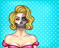 Wektorowa kobieta z makeup w wystrzał sztuki stylu, zredukowana twarz ilustracji