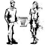 Wektorowa kobiety i mężczyzna moda ilustracji