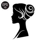 Wektorowa kobiety twarz czarna kobieta sylwetki Rocznika profil Obrazy Royalty Free