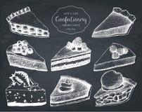 Wektorowa kolekcja atrament owocowa i jagodowa ręka rysująca wypiekowa ilustracja Rocznika projekt z tradycyjnym tortem, tarta i  ilustracja wektor
