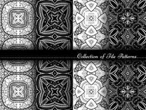 Wektorowa kolekcja Czarny I Biały Bezszwowi roczników wzory royalty ilustracja