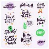 Wektorowa kolekcja Halloweenowe płaskie świętowanie wycena, literowanie, zwroty i tradycyjnych Halloween elementów straszni party ilustracja wektor