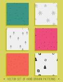 Wektorowa kolekcja 6 handdrawn bezszwowych wzorów Zdjęcia Stock