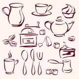 Kolekcja herbaciane kawowe i torty sylwetki Zdjęcia Royalty Free