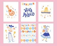 Wektorowa kolekcja karty z tradycyjną dekoracją dla Meksyk dnia nieboszczyka przyjęcia, Dia De Los Muertos świętowanie ilustracja wektor