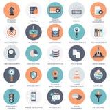 Wektorowa kolekcja kolorowe płaskie wyszukiwarki optymalizacja, biznesu, technologii i finansów ikony, ilustracji
