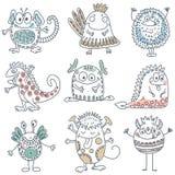 Wektorowa kolekcja kolorowi śmieszni potwory charaktery śliczni ilustracja wektor