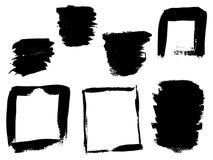 Wektorowa kolekcja lub set artystyczna czarna farba, atrament lub akrylowi ręcznie robiony kreatywnie szczotkarscy uderzeń tła od Fotografia Stock