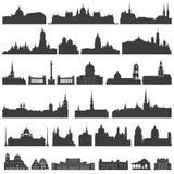 Wektorowa kolekcja odosobneni pałac, świątynie, kościół, katedry, kasztele, urzędy miasta, gmachy, antyczni budynki i inny, Zdjęcie Stock