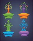 Wektorowa kolekcja różni drzewni emblematy, ptaki Zdjęcie Royalty Free