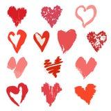 Wektorowa kolekcja ręki rysujący eleganccy grunge serca Zdjęcia Stock