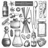 Wektorowa kolekcja słoje i butelki Rocznik mydlarni i kosmetyk produkcji ręka rysujący składniki ustawiający Aromatyczny i medici royalty ilustracja